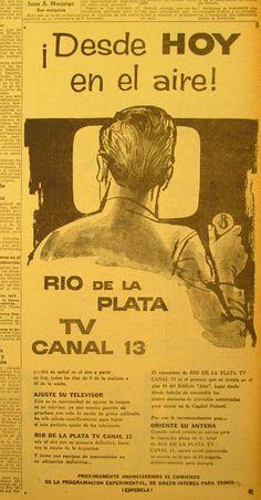 Aviso de la inauguración del Canal 13, Buenos Aires. Año 1960.