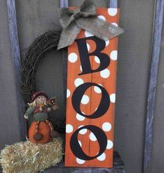 Items similar to Halloween Boo Wood Sign Porch Decor x on Etsy Items similar to Halloween Boo Wood Sign Porch Decor x on Etsy,Fall projects Welcome guests to your home. Boo Halloween, Halloween Wood Crafts, Rustic Halloween, Fete Halloween, Holidays Halloween, Holiday Crafts, Holiday Decor, Wooden Halloween Signs, Wooden Halloween Decorations