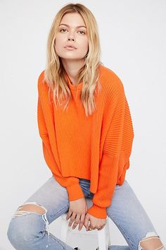 Free People  Piers & Palms Pullover. Oversized and Cropped. In 3 great colors!