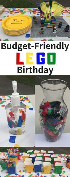 Lego Birthday Theme on a Budget Lego Themed Party, Lego Birthday Party, Minion Birthday, Summer Birthday, Unicorn Birthday Parties, 5th Birthday, Birthday Ideas, Lego Faces, Kids Party Themes