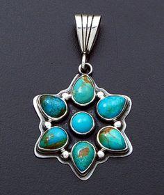 Geneva Apachito (Navajo) - Turquoise & Sterling Silver Starburst Cluster Pendant #38937 $120.00