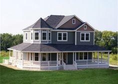 Rap all the way around porch single story farm house my for Houses with porches all the way around