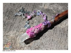 "Crystal tip Wooden Magic Spell ""Freya Cerise""."