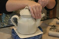 Handbuilding an adorable teapot from slabs. Gotta get back in the studio!!