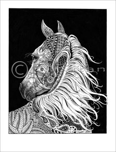 Dream Horse- a zentangled fantasy by CrazyWomanDesigns208 on Etsy https://www.etsy.com/listing/221361839/dream-horse-a-zentangled-fantasy