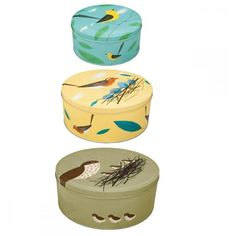 Set of Three Birdy Cake Tins found on Polyvore