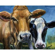 Cows Farm Animal Art 8x10 Print Painting by Dottie Dracos Two Curious Cows via Etsy