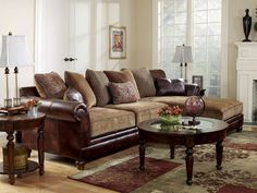 SANDERS - OLD WORLD FAUX LEATHER & CHENILLE SOFA COUCH SECTIONAL SET LIVING ROOM                             ~ 1176