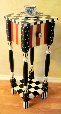 Whimsical red and gold striped Nightstand by shabbysleek. Available on Etsy for only $249.99