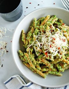 Lentil Pasta + Arugula Pesto - gluten free, high in protein and a delicious spring meal!   A Nutritionist Eats