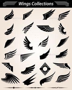 Wings – Decorative Symbols Decorative – Home Trends 2020 Logo Sketch, Wings Logo, Bird Logos, Wings Design, Animal Logo, Body Art Tattoos, Wing Tattoos, Graphic Design Inspiration, Art Drawings