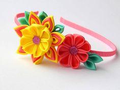 Kanzashi Fabric Flower headband. Pink by HairOrnamentsForYou