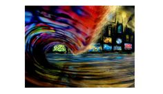 Night city wave. Cool colours! Enviro Surf Art Series: Epic Ocean-Inspired Paintings | The Inertia