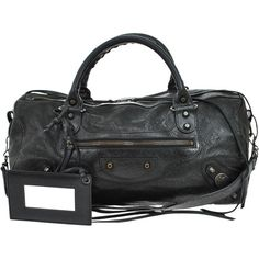 Pre-owned Balenciaga 100% The Twiggy 2 Way Hand Black Leather Vintage... ($798) ❤ liked on Polyvore featuring bags, handbags, tote bags, none, black tote handbag, balenciaga handbags, black tote bag, vintage purse and vintage handbags