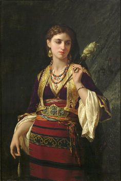 Oriental women by Charles Emile Vernet-Lecomte. Odalisque was sexual slave in The Ottoman palace. Especially the young girls was raised for sex and entertainment.