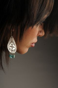 Earing  Sterling Silver, turquose ,Hand fabricated