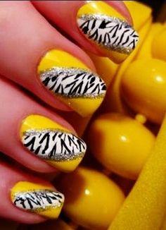 Zebra Print Nails Design, Yellow zebra-stripe nails for girls Nail Designs 2014, Nail Art Designs Images, Gel Nail Designs, Cute Nail Designs, Nails Design, Zebra Stripe Nails, Zebra Print Nails, Nail Art Stripes, Cute Nail Art