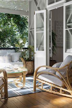 Breathing life into a charming Federation Queenslander - Cedar & Suede Outdoor Rooms, Outdoor Chairs, Outdoor Living, Outdoor Areas, Outdoor Balcony, Tall Tv Cabinet, Porches, Queenslander House, Weatherboard House