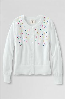 Girls' Embroidered Dot Cardigan from Lands' End