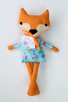 Handmade Fabric Fox Stuffed Animal Doll by LiaAndLucy on Etsy