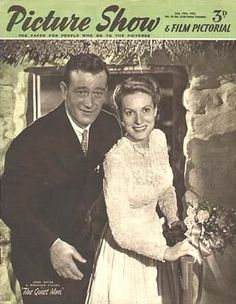 "July, 1952  ~  John Wayne and his ""bride,"" Maureen O'Hara"