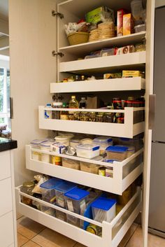 Semi-industrial kitchen. Large pantry with drawers means everything is easily accessible. www.thekitchendesigncentre.com.au