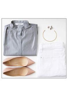 minimal stripes & neutrals: button-down shirt, gold jewelry, white denim & nude pumps.