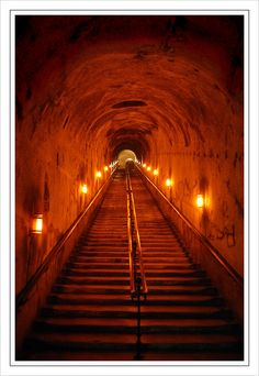 Underground Stairway: This picture shows the stairs leading into the champagne cellars of the House of Pommery in Reims.