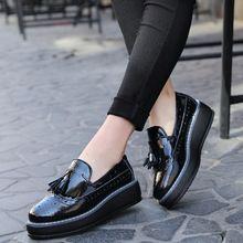 O16U Alta Calidad mujeres Oxford Pisos de Charol zapatos de Plataforma  Borla-front slip- 300c49079460