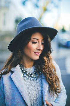 "Mimi Ikonn ""Feeling blue"" – Icy blue coat, cable stitch sweater, blue jeans, statement necklace, navy hat, blue flats   www.mimiikonn.com"