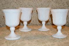 Indiana Glass Goblet ~ Set of 4 ~ Milk Glass ~ Colonial Harvest Grape ~ Wedding Dishware ~ Retro Kitchen Tableware Glassware by GrandesTreasures on Etsy