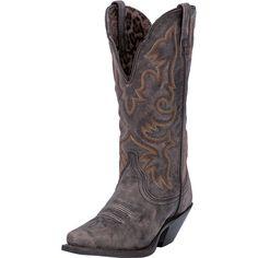 Laredo Access Womens Black Black Tan Leather Western Boots