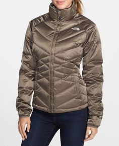 Stay warm and fabulous in a metallic down jacket.