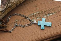 Dyed Turquoise Magnesite Cross Necklace Deerskin Lace