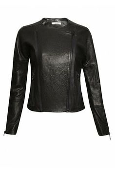 J Brand Collection Marie Black Leather Biker Jacket Beautifully soft and cut close to the body this biker style leather jacket is a key statement piece from J Brand.