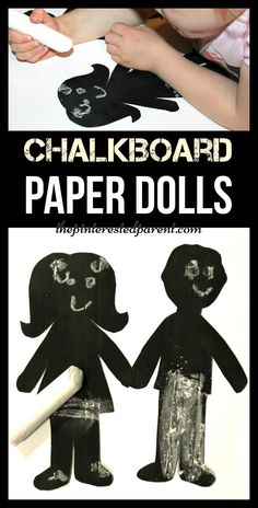 Chalkboard paper dolls - fun for kids to draw on the faces and erase them again. Chalk arts and crafts