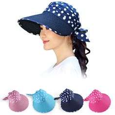 fcf8a223 Polka Dot Women Girl Straw Hat Sun Visor Wide Brim Foldable Roll-up Bowknot  Cap