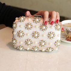Novo 2016 pérola e diamante pacote de saco de mão saco pacote pacote de vestido de noiva festa de frete grátis