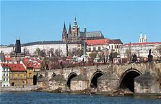 """The Charles Bridge in Prague.  Cool bridge with tons of statues.  Highly recommend the book """"Rick Steve's Prague"""" as it tells you what every one of those statues means/represents."""