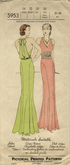 Pictorial Review 5953 | 1930s Evening Gown