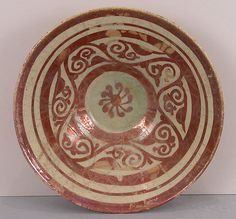 """""""Tell Minis"""" Bowl with Vegetal Scroll Object Name: Bowl Date: century Geography: Syria Culture: Islamic Medium: Stonepaste; luster-painted on transparent glaze Pottery Plates, Pottery Art, Sgraffito, Earthenware, Metropolitan Museum, Islamic Art, Decorative Plates, 12th Century, Pottery"""