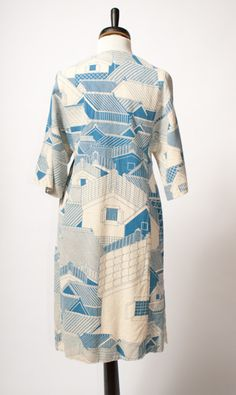 Coat made from wonderful fabric - print of roofs of houses, reminds me of Japan. #fashion #clothes #textiles
