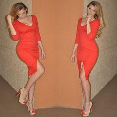 Red Front Slit Midi Dress - Small