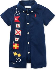 Ralph Lauren Baby Boys' Flag-Embroidered Shortall - All Baby - Kids & Baby - Macy's Nautical Tops, Nautical Flags, Baby Boy Outfits, Kids Outfits, Baby Month By Month, Playsuit, Baby Kids, Polo Ralph Lauren, Rompers