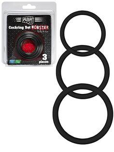 Push Monster Cockring - Silikon Penisring Set schwarz, Innendurchmesser: ca. 32, 40, 50 mm