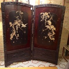 Antique Carved Japanese Floor Screen with Inlay