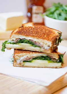 Brie and Gruyere Grilled Cheese with Apples and Prosciutto Recipe -