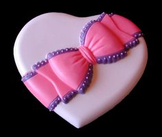 Heart with Bow sugar cookie