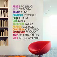 Adesivo de Parede Pense Positivo Office Decor, Home Office, Room Maker, Clinic Design, Instagram Blog, Wall Design, Digital Marketing, Interior Decorating, Home Decor