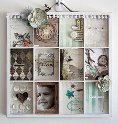 """Use painter's tray to create a """"scrapbook"""" page you can hang on the wall...."""